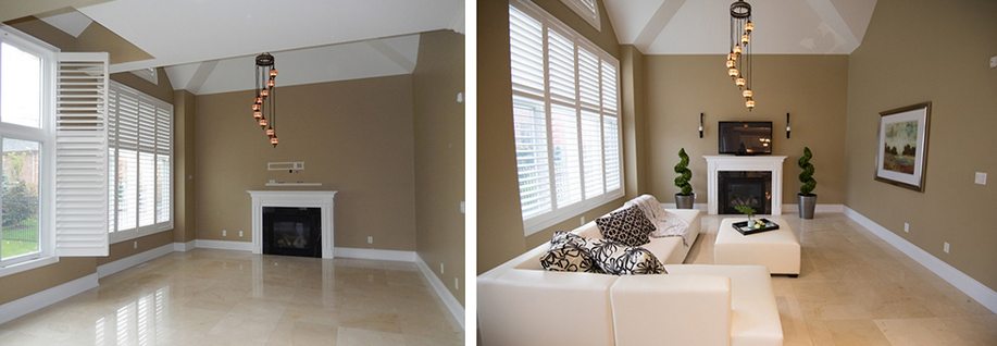 An example of a staged vacant property, before and after (courtesy Kit Lee.)