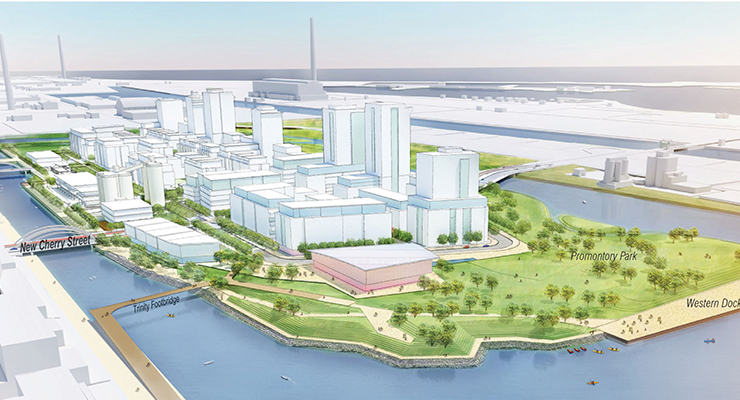Conceptual future vision looking east across Port Lands. (Image courtesy Waterfront Toronto.)
